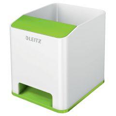 Suport instrumente de scris Leitz WOW, PS, cu amplificare sunet, culori duale, alb-verde