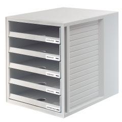 Suport plastic cu 5 sertare pentru documente, HAN (open) - gri deschis - sertare gri deschis