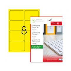 Etichete color autoadezive,  8/A4, 99.1 x 67.7mm, 25 coli/top, TANEX - galben fluorescent