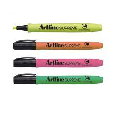 Textmarker ARTLINE Supreme, varf tesit 1.0-4.0mm, 4 culori/set - galben, portocaliu, roz, verde