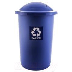 Cos plastic reciclare selectiva, capacitate 50l, PLAFOR Top - albastru cu capac albastru - hartie