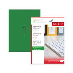 Etichete color autoadezive,  1/A4, 210 x 297mm, 25 coli/top, TANEX - verde fluorescent