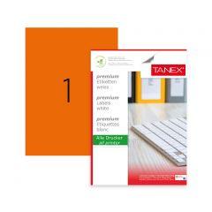 Etichete color autoadezive,  1/A4, 210 x 297mm, 25 coli/top, TANEX - orange fluorescent