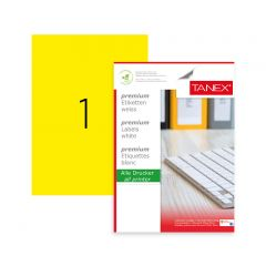 Etichete color autoadezive,  1/A4, 210 x 297mm, 25 coli/top, TANEX - galben fluorescent
