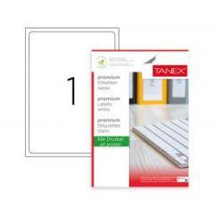 Etichete albe autoadezive, repozitionabile,  1/A4, 199.6 x 289.1mm, 25 coli/top, TANEX-colturi rotun