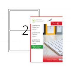 Etichete albe autoadezive, repozitionabile,  2/A4, 199.6 x 143.5mm, 25 coli/top, TANEX-colturi rotun