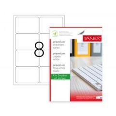Etichete polyester albe, autoadezive,  8/A4, 99.1 x 67.7mm, 25 coli/top, TANEX - colturi rotunjite