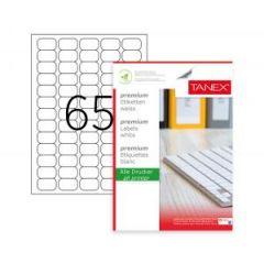 Etichete albe autoadezive, repozitionabile, 65/A4, 38.1 x 21.2mm, 25 coli/top, TANEX-colturi rotunji