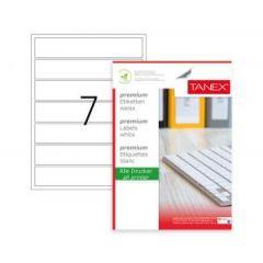 Etichete albe autoadezive, repozitionabile,  7/A4, 192.5 x 39mm, 25 coli/top, TANEX-colturi rotunjit