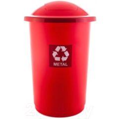 Cos plastic reciclare selectiva, capacitate 50l, PLAFOR Top - rosu cu capac rosu - metal