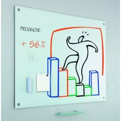 Tabla alba magnetica din sticla, 100 x 150 cm,  (burete + 5 magneti + tavita markere incluse), SMIT