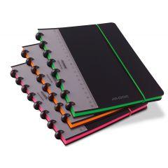 Caiet A5+, 72 file - 90g/mp, coperta PP neagra, cu elastic, margine color, AURORA Adoc Edge-dictando