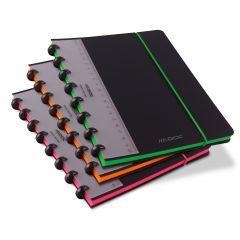 Caiet A5+, 72 file - 90g/mp, coperta PP neagra, cu elastic, margine color, AURORA Adoc Edge-matemati