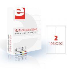 Etichete autoadezive   2/A4, 105 x 292 mm, 200 coli/top, ETILASER - albe