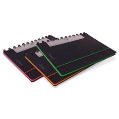 Caiet A4, 72 file - 90g/mp, coperta PP neagra, cu elastic, margine color, AURORA Adoc Edge-dictando