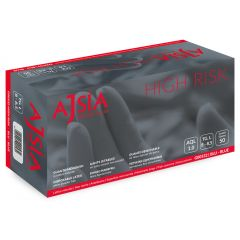 Manusi latex AJSIA High Risk, unica folosinta, nepudrate, L-30cm, 0.33mm, 50 buc/cutie-albastre-  M