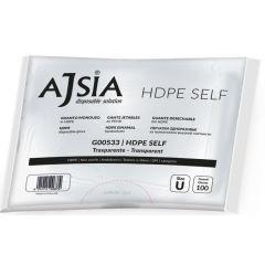 Manusi AJSIA HDPE Self, unica folosinta, nepudrate, pt. alimente, 0.02mm, 100 buc/cutie-transparente