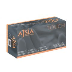 Manusi vinil AJSIA Touch, unica folosinta, nepudrate, 0.08mm, 100 buc/cutie - albe - marime   S