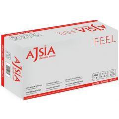 Manusi latex AJSIA Feel, unica folosinta, usor pudrate, 0.10mm, 100 buc/cutie - albe - marime L