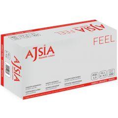 Manusi latex AJSIA Feel, unica folosinta, usor pudrate, 0.10mm, 100 buc/cutie - albe - marime XL