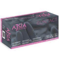 Manusi latex AJSIA Contact, unica folosinta, nepudrate, 0.11mm, 100 buc/cutie - albe - marime  M