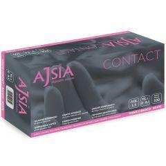 Manusi latex AJSIA Contact, unica folosinta, nepudrate, 0.11mm, 100 buc/cutie - albe - marime   S