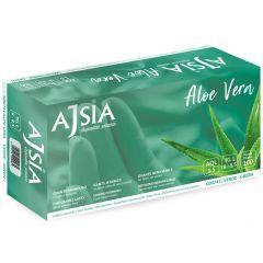 Manusi latex AJSIA Aloe Vera, unica folosinta, nepudrate, 0.16mm, 100 buc/cutie - verzi - marime L