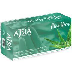 Manusi latex AJSIA Aloe Vera, unica folosinta, nepudrate, 0.16mm, 100 buc/cutie - verzi - marime  M
