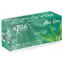 Manusi latex AJSIA Aloe Vera, unica folosinta, nepudrate, 0.16mm, 100 buc/cutie - verzi - marime   S
