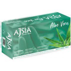 Manusi latex AJSIA Aloe Vera, unica folosinta, nepudrate, 0.16mm, 100 buc/cutie - verzi - marime XL