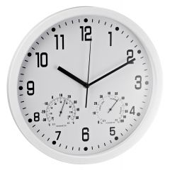 Ceas rotund de perete, D-35cm, cifre arabe, termometru/hidrometru, ALCO - rama alba - dial alb