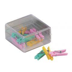 Clesti din plastic cu arc, pentru prindere, 32mm, 10 buc/cutie, ALCO - culori asortate