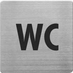 Placuta cu pictograma ALCO, din otel inoxidabil, imprimate cu negru - toaleta (WC)
