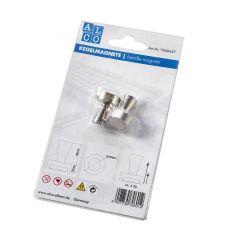 Magneti strong cu maner, D- 20 mm, putere - 4kg, 2 buc/blister, ALCO - argintii