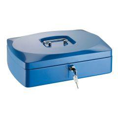 Caseta (cutie) metalica pentru bani, 330 x 235 x 90 mm, tavita monezi, ALCO - albastra