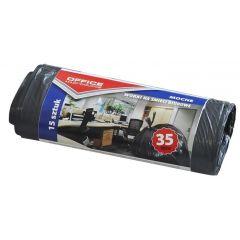 Saci menaj rezistenti  35L, 49 x 56cm, 18 microni, 15buc/rola, Office Products - negri