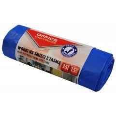 Saci menaj premium  35L, cu snur, 48 x 56cm, 17 microni, 15buc/rola, Office Products - albastri