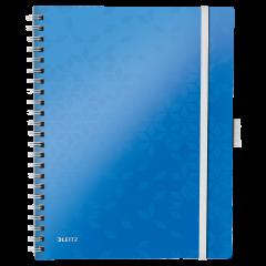 Caiet de birou LEITZ Wow Be Mobile, PP, A4, cu spira, matematica - albastru metalizat