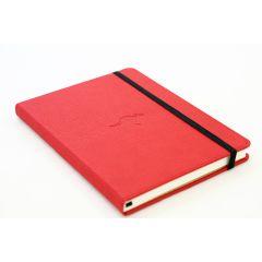 Caiet cu elastic, A5+, 96 file-100g/mp-cream, coperti rigide rosii, Dingbats Kangaroo - dictando