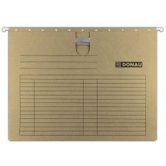 Dosar suspendabil cu sina, carton 230g/mp, bagheta metalica, 5 buc/set, DONAU - maro
