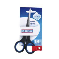 Foarfeca otel, ergonomica, 14cm, cu rubber grip, DONAU Soft Grip - maner albastru