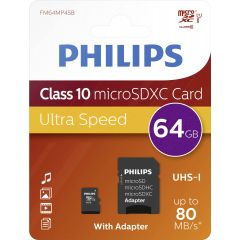 Card memorie Micro SDXC, cu adaptor SD, clasa 10, PHILIPS -  64GB
