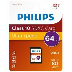 Card memorie SDXC, clasa 10, PHILIPS -  64GB