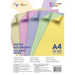 Hartie color, 80g/mp, 100 (5 x 20) coli/top, GIMBOO - culori pastel asortate