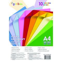 Hartie color, 80g/mp, 100 (10 x 10) coli/top, GIMBOO - culori neon asortate