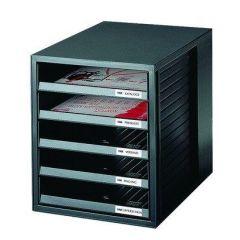 Suport plastic cu 5 sertare pentru documente, HAN (open) - negru - sertare negre