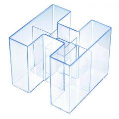 Suport pentru instrumente de scris, HAN Bravo - transparent cristal cu margine albastra
