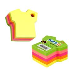 "Notes autoadeziv Die-Cut - tricou, 70 x 70 mm, 400 file, Stick""n - 5 culori fluorescente"