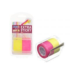 """Notes autoadeziv in rola, cu dispenser, 25 mm x 10 m, 2 buc/set, Stick""""n - 2 culori neon"""
