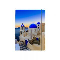 CAIET MY.BOOK FLEX A5 40F 80GR, PATRATELE, COPERTA SANTORINI, ELASTIC ALBASTRU